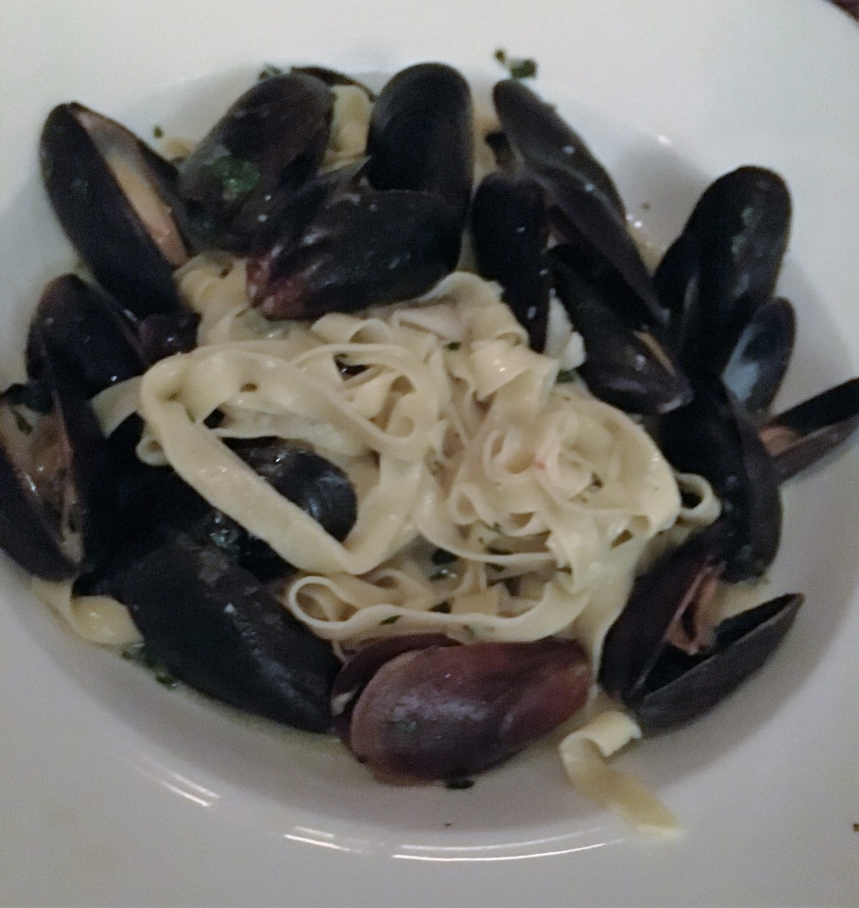 Pasta dinner with mussels